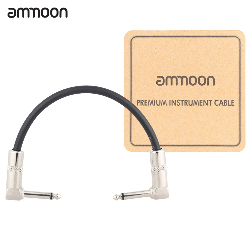ammoon 6 Meters// 20 Feet Electric Guitar Bass Musical Instrument Cable Cord 1//4 Inch Straight to Right Angle Plug Black White Woven Jacket