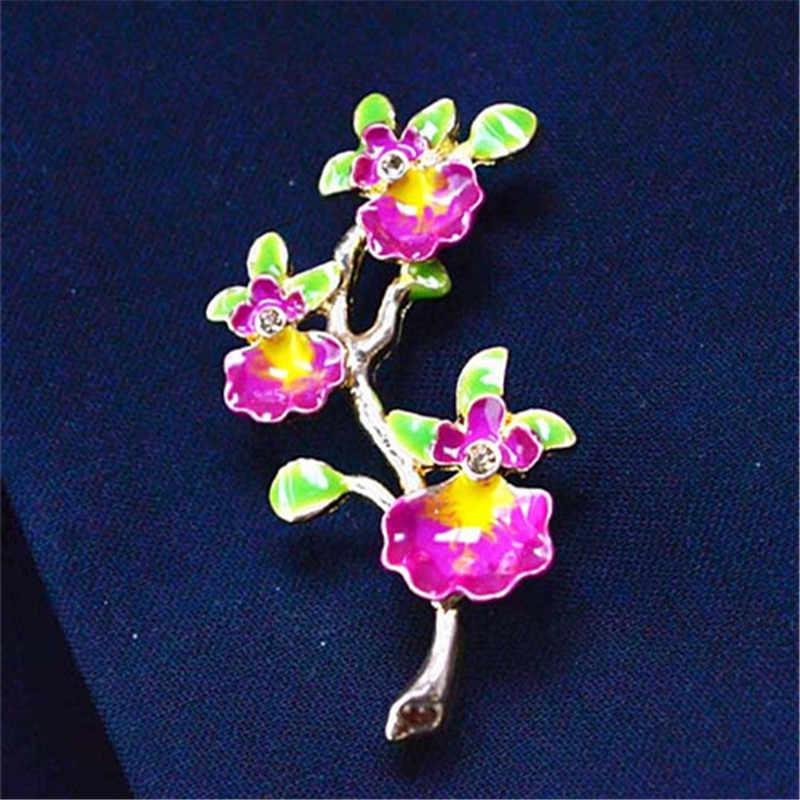 Spedizione gratuita signore di modo dei monili squisito modello di fiore forma ragazze spilla placcatura smalto artigianale elegante spilla pins donne