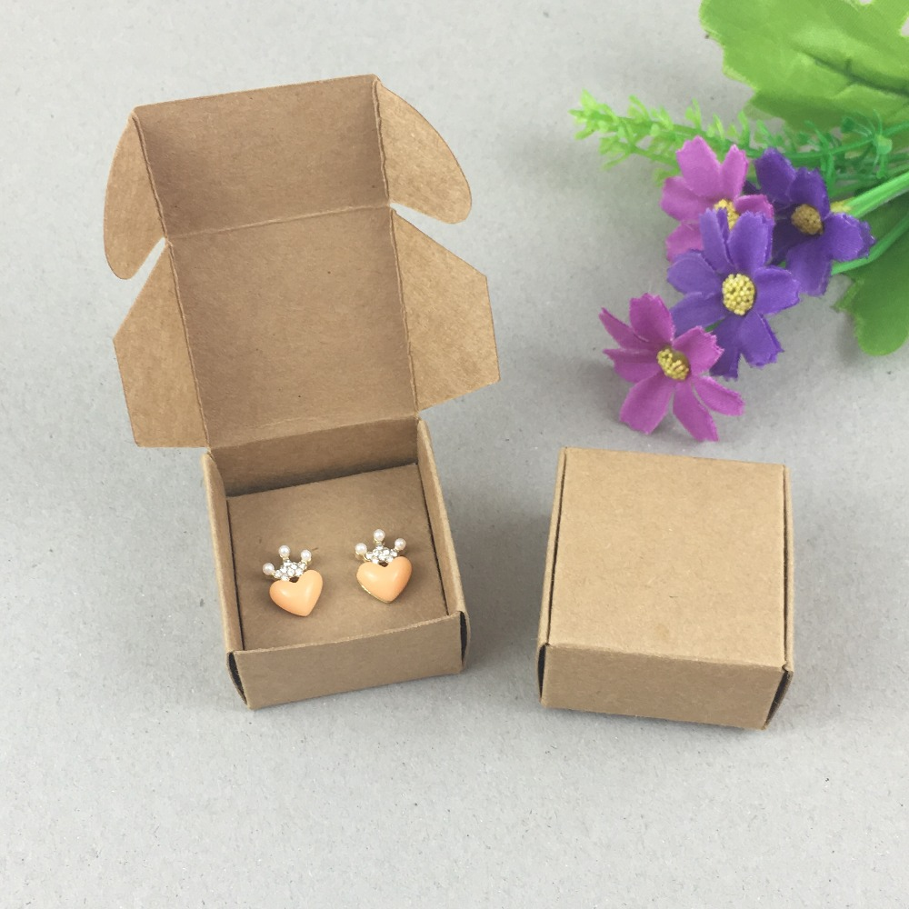 100Set Paper Jewelry Boxes&Earring Cards Kraft Earring Packing Box Blank accessory Packaging Jewelry Set Box DIY Gift Boxes