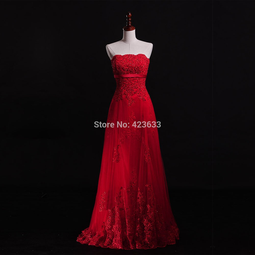 Hot-Sale-Real-Photo-Red-A-line-Strapless-Lace-Appliques-Beaded-Long-Evening-Dresses-2015