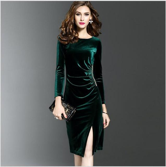 4c649dcb40ef9 2018 bahar moda bayanlar mizaç kadife elbise kadın slim Orta uzun Açık  çatal siyah, koyu