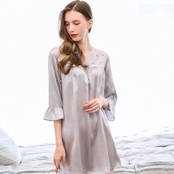 273b71353 100% camisón de seda para las mujeres camisón de encaje Sexy vestido de  noche pijamas ropa de dormir camisón dormir regalo
