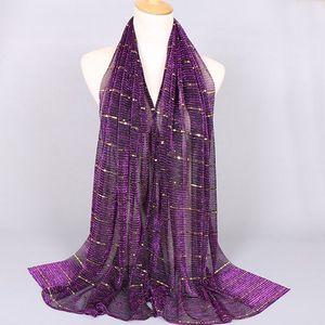 Image 2 - Beautiful! Magic filament Sequin Muslim Women Hijabs Shimmer Shawl Hijabs Wrinkles Islamic Wedding Veil Scarves Head Cover