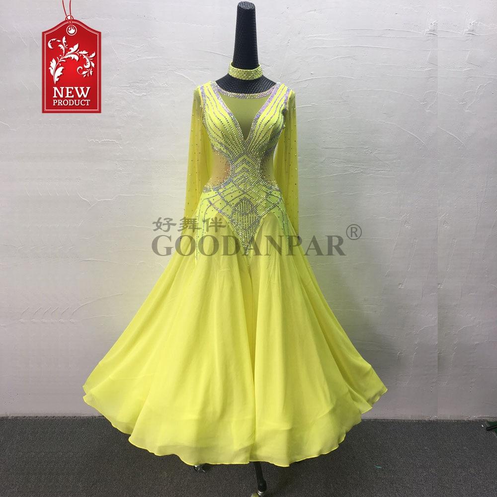 Nouvelle robe de danse Standard de salle de bal de compétition, robe de patinage artistique, manches longues, robe de danse de salon, jaune citron, coupe ajustée