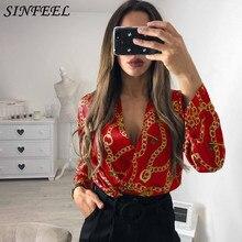 SINFEEL Print Backless Long Sleeve Sexy V-neck Satin Bodysuit Women 2019 Spring Elegant Female Office Skinny Jumpsuit overalls