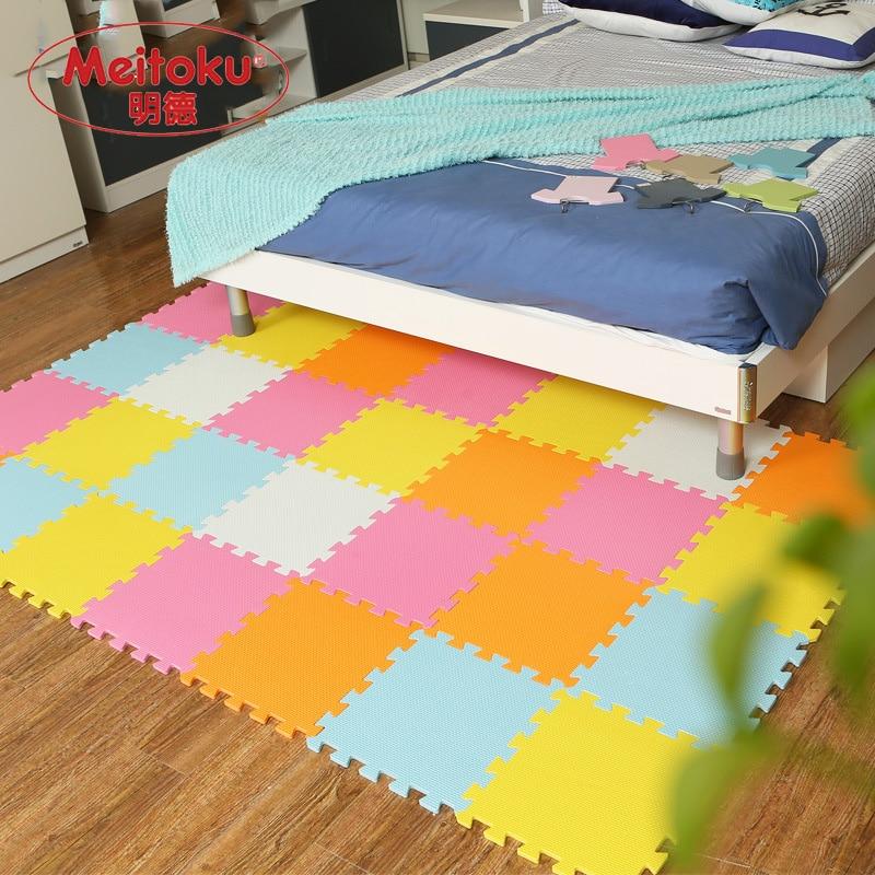 Tapis de Puzzle de jeu de mousse d'eva de bébé de Meitoku pour des enfants/tapis de tapis de plancher de tuiles d'exercice de verrouillage, chacun 32X32 cm, 18 ou 24pc dans un sac - 2