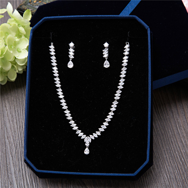 Cubic Zirconia Women Anniversary Wedding Engagement Birthday Gift Party Special Occasion Jewelry Sets Marquise Necklace Earrings