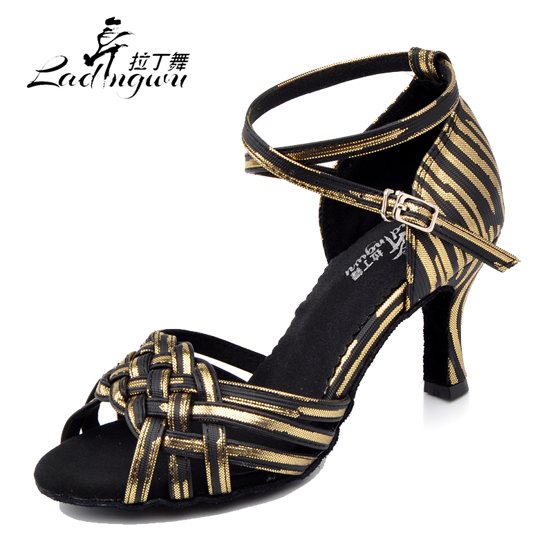 Ladingwu Pink/Yellow/Golden/Silver PU Dancing Shoes For Women Chinese knot Design Latin Salsa Dance Shoes Soft Bottom Sandals цена 2017