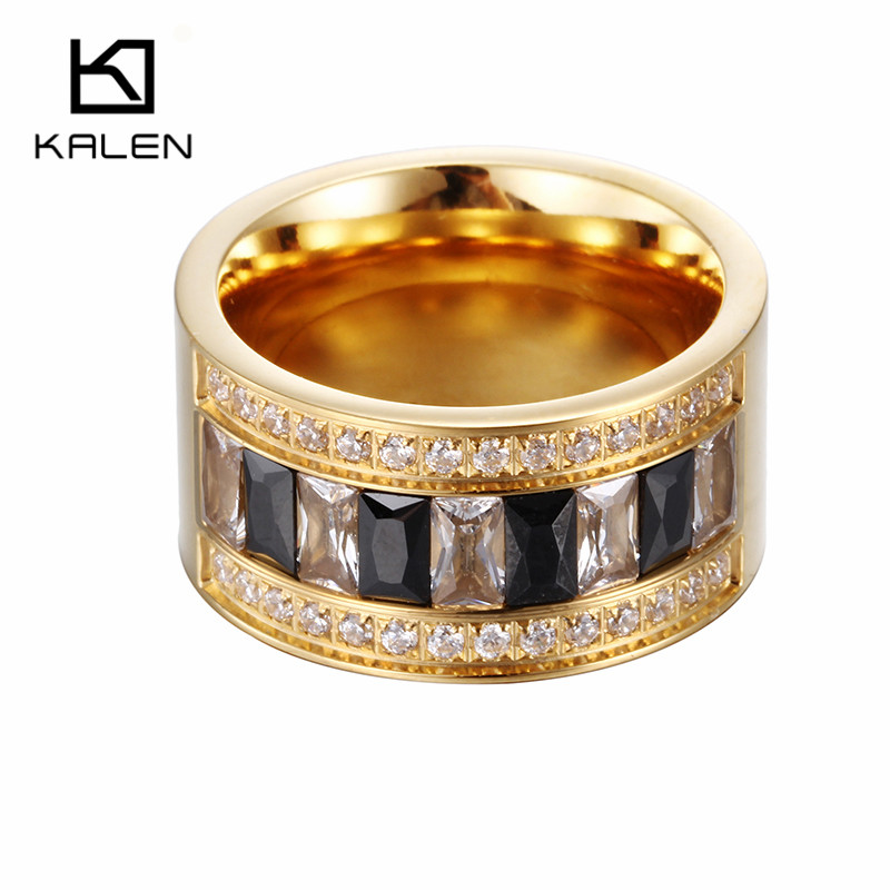 New Arrival 18k Gold Plated Anillo Wedding Engagement Blue White Black Zircon Rings For Women Men