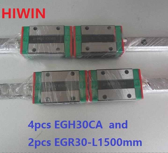 2pcs 100% original HIWIN linear guide rail EGR30 -L 1500mm + 4pcs EGH30CA linear block for CNC router 2pcs 100% original hiwin linear guide rail egr30 l 1800mm 4pcs egh30ca linear block cnc router