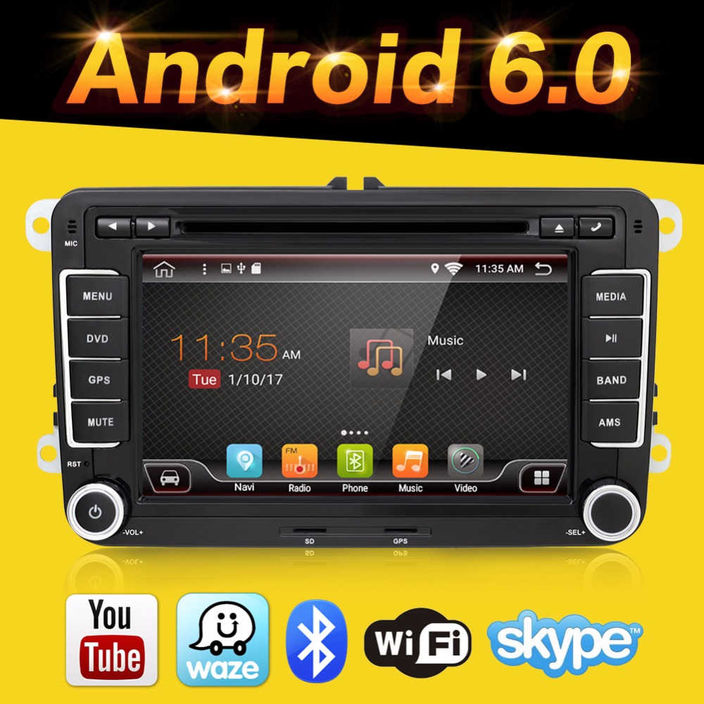 imágenes para 2 Din Quad 4 Core android 6.0 coches reproductor de dvd gps Estéreo Aux para VW POLO GOLF 5 6 PASSAT CC JETTA TIGUAN TOURAN Skoda Fabia Caddy