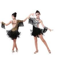 Free Shipping Girls Leopard Dotted Latin Dance Costumes Children Latin Fringe Dress Sexy Zebra Ballroom Dance Dresses for Kids