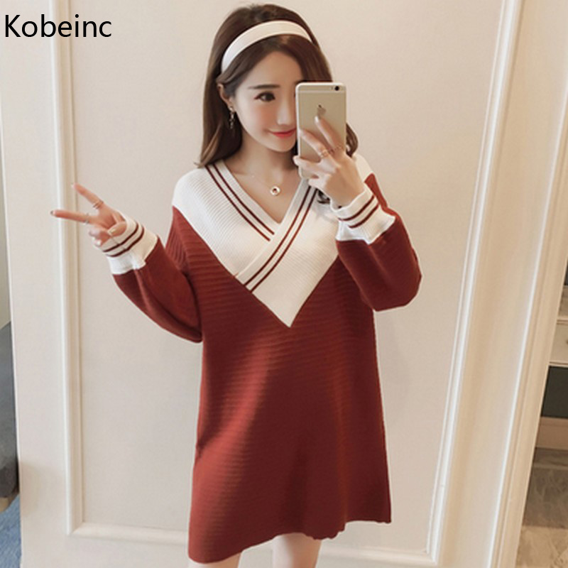 Kobeinc New Dress For Pregnant Women Autumn Winter V-Neck Patchwork Maternity Clothes Casual Loose Sweater Pregnancy Vestidos 2017new brand large size l 5xl pregnant women chiffon dress print half sleeve loose casual cosy maternity clothes vestidos ce962