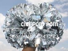 free fast shipping cheerleader pom pom 1,000 *3/4″ wide streamers*6″ sizes metallic silver