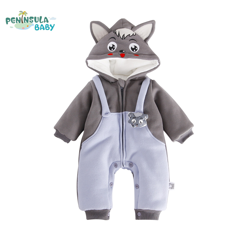 Newborn Baby Romper Winter Warm Long Sleeve Boys Girls Clothing Infant Cartoon Wolf Baby Thickened One-Piece Zipper Baby Clothes zofz baby girls clothing newborn baby boy girl clothes long sleeve cartoon printed jumpsuit baby romper for baby boy clothing