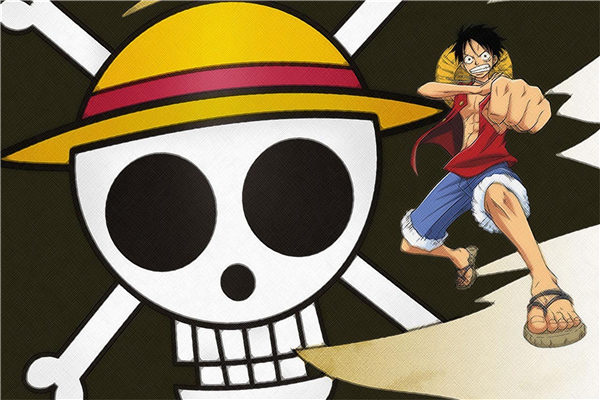 Custom Canvas Art Luffy Poster One Piece Anime Wall Stickers One Piece Wallpaper Skull S ...