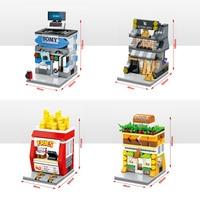4pz Lot Sembo MOC Mini City Street Building Block Bakery French Fries Computer Store Compatible Bela