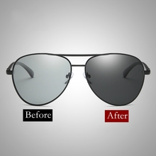 2018 Sunglasses Men Polarized Photochromic Pilot Driving Goggle Chameleon Change Color Glasses Women Retro