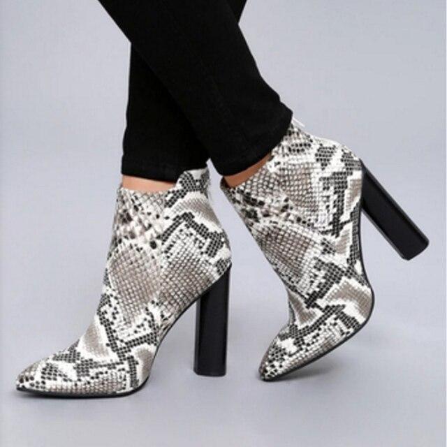 31d019345f Boussac Snakeskin Pattern Ankle Boots Women Pointed Toe High Heel Women  Boots Winter Shoes Women SWE0113