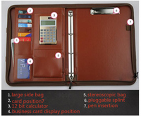 a4 folder pu multifunctional manager with calculator office business leather portable zipper bag