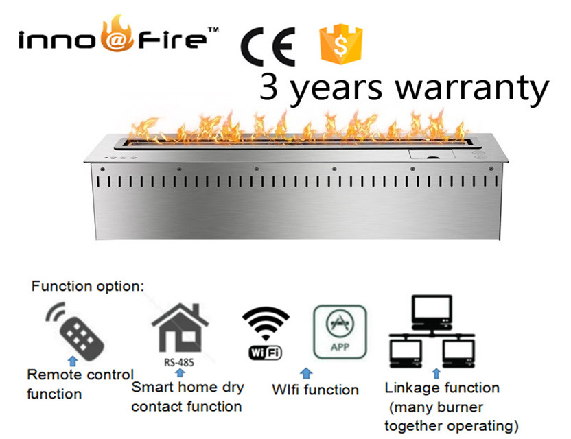 30 Inch Deluxe Inserted Indoor Remote Control  Silver Or Black Ethanol  Ventless Fireplaces