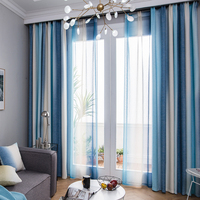 RZCortinas Mediterranean Modern Curtain Striped Curtains for Bedroom Window Treatment Tulle Curtain for Living Room Bedroom