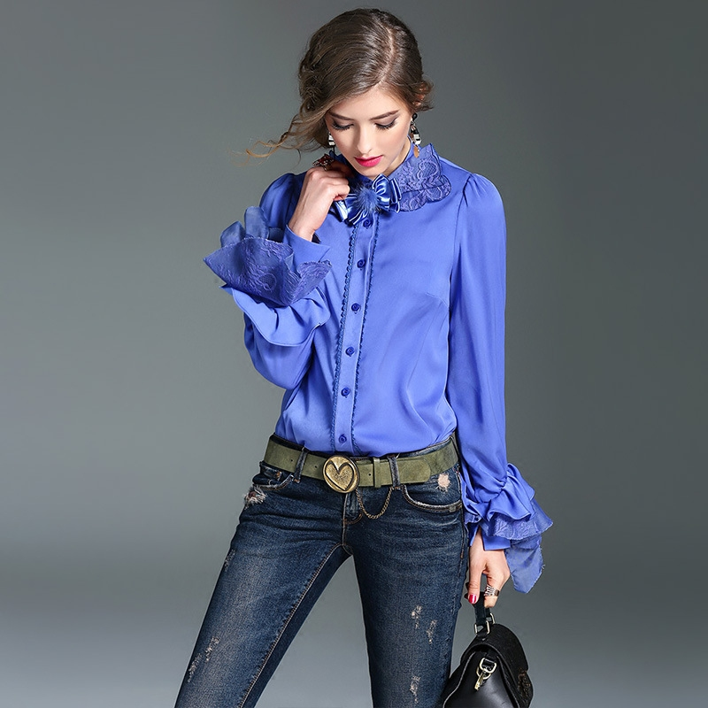 Шелковые блузки с длинным рукавом