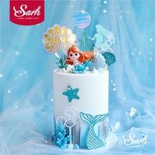 Coroa de decoração de sereia, concha de rabo de peixe a laser prata, decoração de carta para criança, aniversário, festa de casamento, presentes fofos