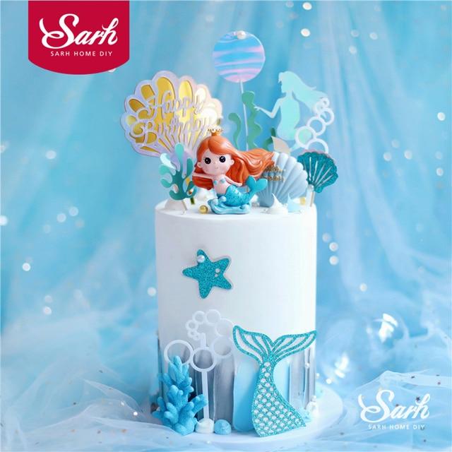 Taç Mermaid dekor balık kuyruğu kabuk lazer gümüş kek Topper mektubu dekorasyon için çocuk doğum günü partisi düğün malzemeleri sevimli hediyeler