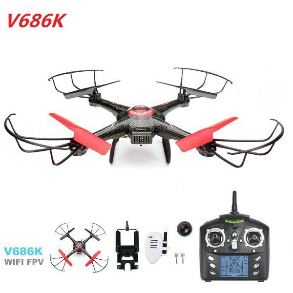 WLtoys V686K Wifi Video Real-time Phone FPV Quadcopter with Camera Headless Mode 2.4G 4CH 6-Axle Gyro RC Drone UFO RTF VS X5SW wltoys v393 6 axis gyro brushless headless mode ufo rc quadcopter drone rtf 2 4ghz