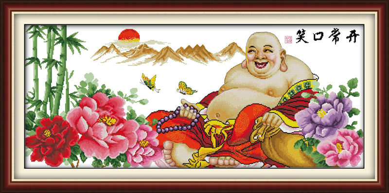 Grinning all the time wealth honour to rise cross stitch kit 14 11ct cotton hand embroid ...