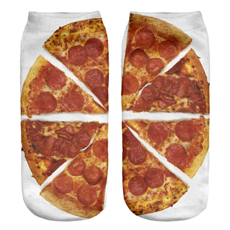 2018 Hot Unisex Kawaii Socks Polyester Comfortable Funny Socks Low Ankle Socks Fancy Pizza Print Cotton Harajuku Vintagae Socks