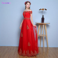 Red Evening Dresses Contrast Color With Gold Lace Embroidery Tulle Boat Neck Cap Sleeves Corset Back