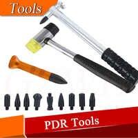 PDR Dent Ding Hammer Leitungs Unten Kits Ausbeulen ohne Reparatur Aluminium Dent Hagel Hammer mit 8 stücke POM köpfe & PDR Knock Leitungs Unten