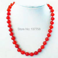 (Min. Order is $10)1Strand Beautiful 10mm Red Stone Necklace 17.5 inch ALS1416