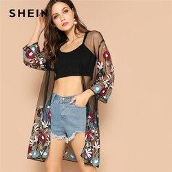 Шеин многоцветный цветок вышивка сетка прозрачная Бохо удлиненный кимоно кардиган для женщин Лето с длинным рукавом пляжный отдых сексуал...