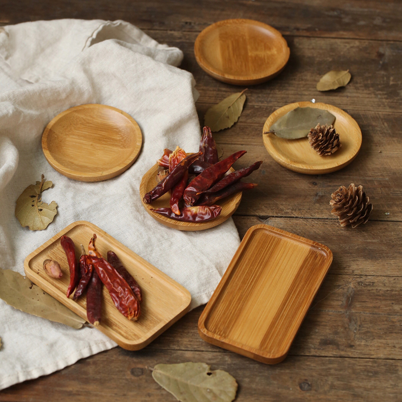 Bamboo Saucer Storage Tray Circular Square Small Dish Photo Studio Photography Background Props For Food Confectionery Snacks