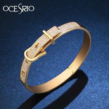 62f3b87f9cfd OCESRIO Zirconia cúbica de la marca de lujo de las mujeres de la pulsera CZ  cobre oro nudo pulsera de brazalete de la marca de lujo de la joyería de  las ...