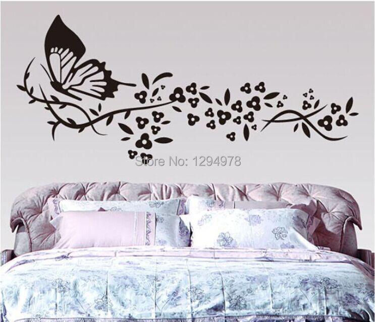 Online Shop 118*72cm Black Butterflyu0026Flower Living Room Vinyl Wall Art  Decals Bedroom 3D Wall Stickers Large Book Shelf Decoration Wallpaper |  Aliexpress ... Part 67