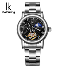 IK Womens Moon Phase 24 Hours Automatic Mechanical Watches Ladies Gold Skeleton Full Steel Silver Business Watch Clock relojes