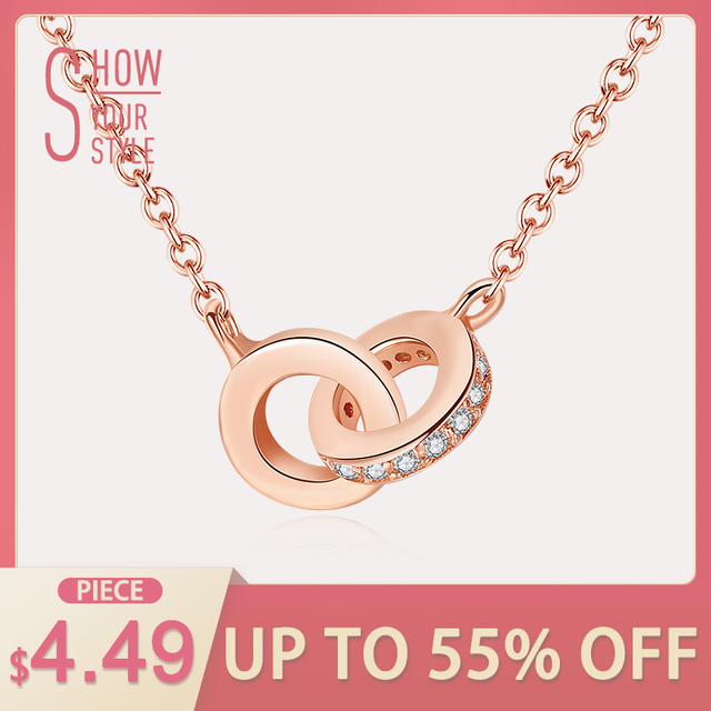 CZCITY Zircon Double Circle 925 Sterling Silver Fashion Necklaces & Pendants For