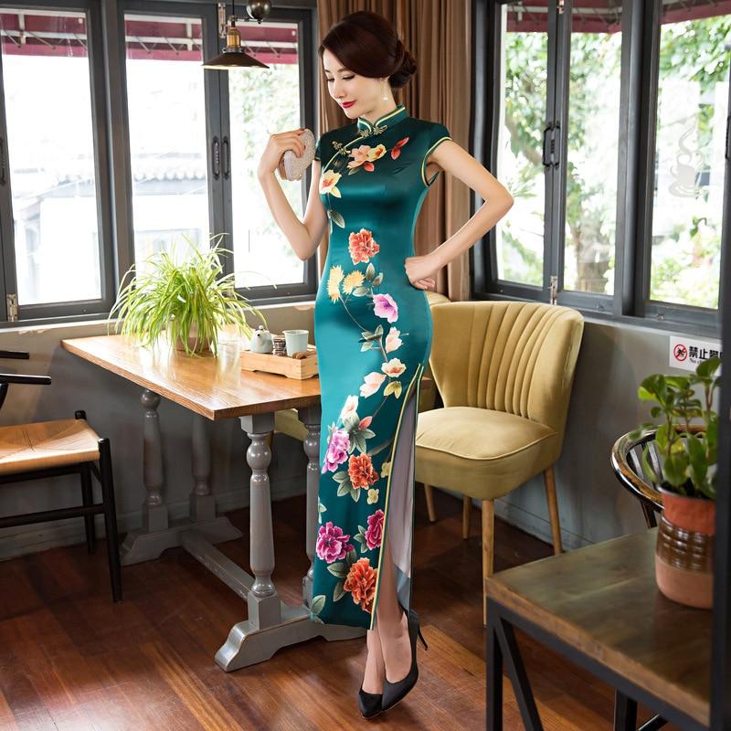 Graceful Women Long Floral Print Qipao Elegant Formal Evening Dress Robe Femme Ete 2018 High Split Bridal Mother