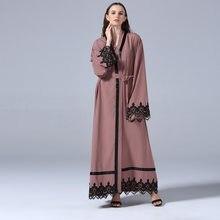 8e7d8992322b 2018 Abaya Dubai musulmán vestido Abayas para mujer moda islámica ropa  larga turca Abayas encaje abierto árabe Pakistán talla gr.