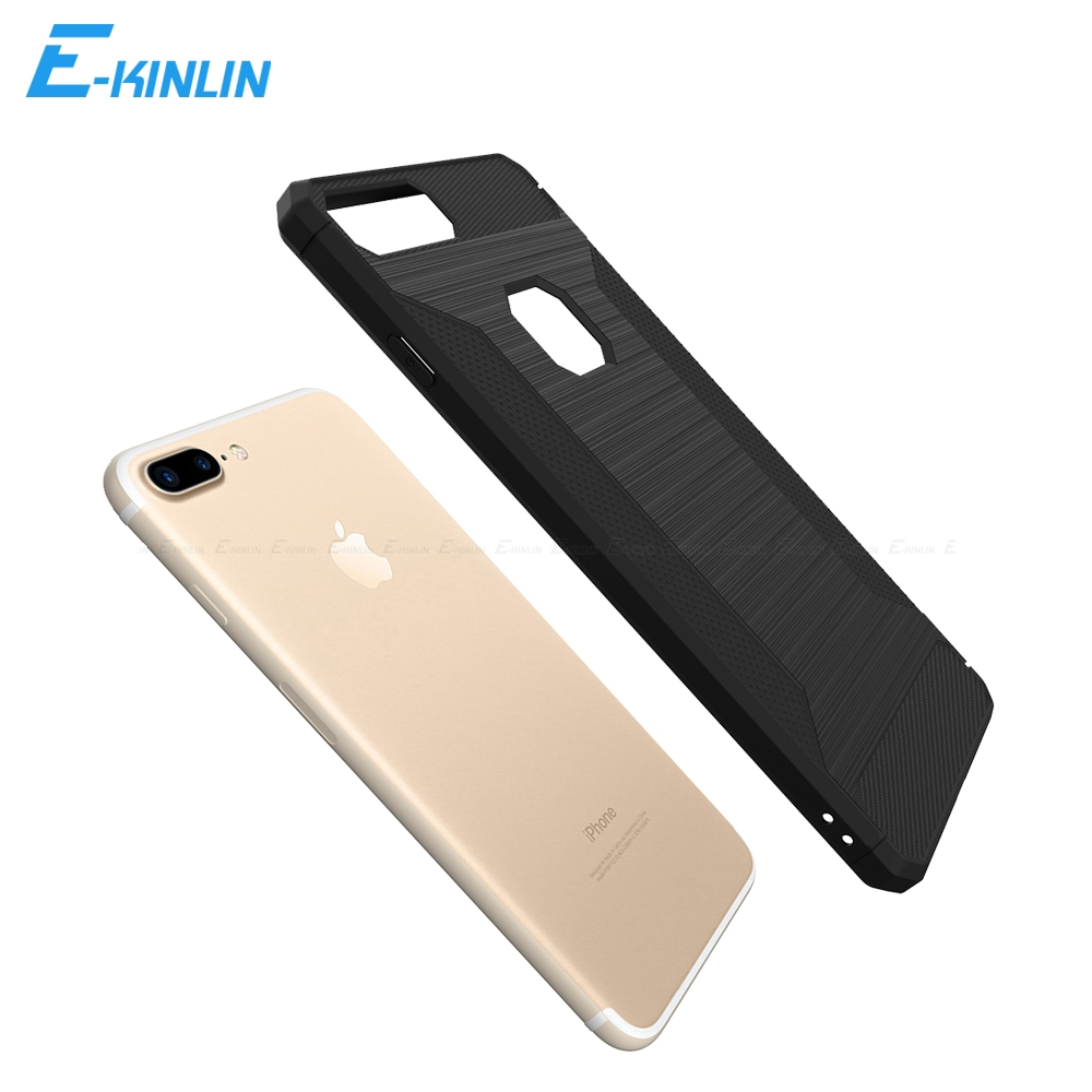Thin Slim Soft Silicone TPU Cover For iPhone X 6 6S 7 8 Plus SE 5 5S 10 Ten Brushed ShockProof Carbon Fiber Back Phone Case
