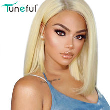 613 lace front bob wigs bleached knots Tuneful 100% Raw Indian remy colored human hair wig glueless blonde human hair bob wigs(China)
