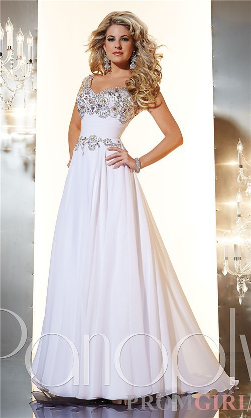 Beautiful White Applique And Beadings Modest Prom Dresses With ...
