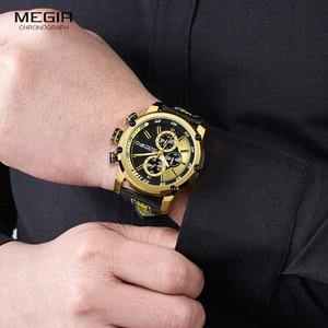 Image 5 - MEGIR גברים של רצועת עור ספורט הכרונוגרף שעונים אופנה עמיד למים זוהר אנלוגי קוורץ שעוני יד לגבר 2079GDBK