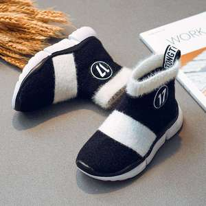 Image 3 - أحذية أطفال طويلة الرقبة الثلوج الفتيات طفل أحذية الأطفال أحذية للبنات طفل أحذية مضادة للماء شتاء دافئ القطن جورب الأحذية ل Girs شقة