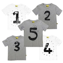 White Gray Number Letter Boys Print T-shirt For Kids Summer T-shirts Baby Boy Casual Funny Birthday Tops Kids Boys T-shirt