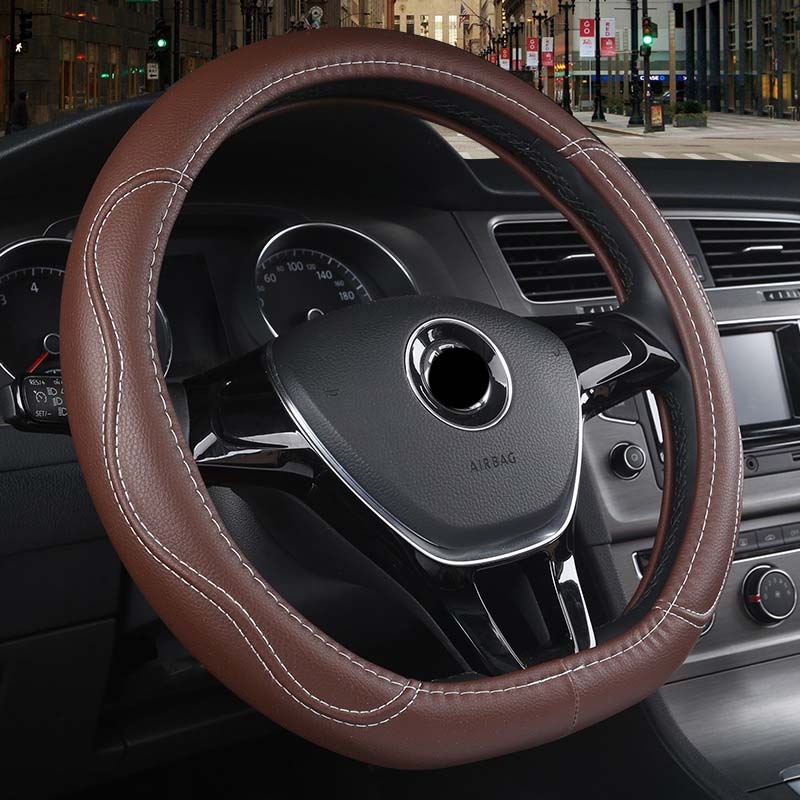 2 colors Optional,Black 38cm QLL Car Steering Wheel Cover Leather Cowhide Cover Fits Volkswagen Audi BMW Mercedes car leather handle